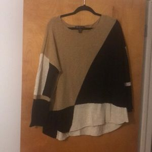 INC 2x sweater camel black and cream thin